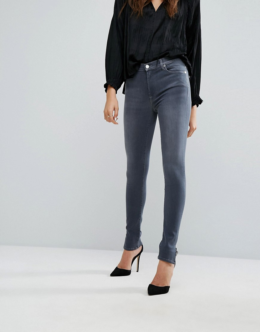 7 For All Mankind High Rise Skinny Jean with Split Hem Detail - Luxe grey