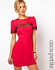 ASOS PETITE Tulip Dress With Lace Insert