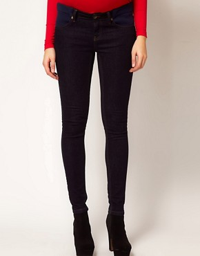 Image 4 ofASOS Maternity Elgin Indigo Skinny Jeans With Adjustable Waistband