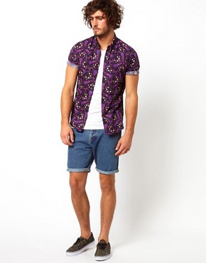 Image 4 ofASOS Denim Shorts With Contrast Pocket