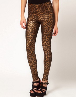 Image 4 ofASOS Leggings In Metallic Leopard Print