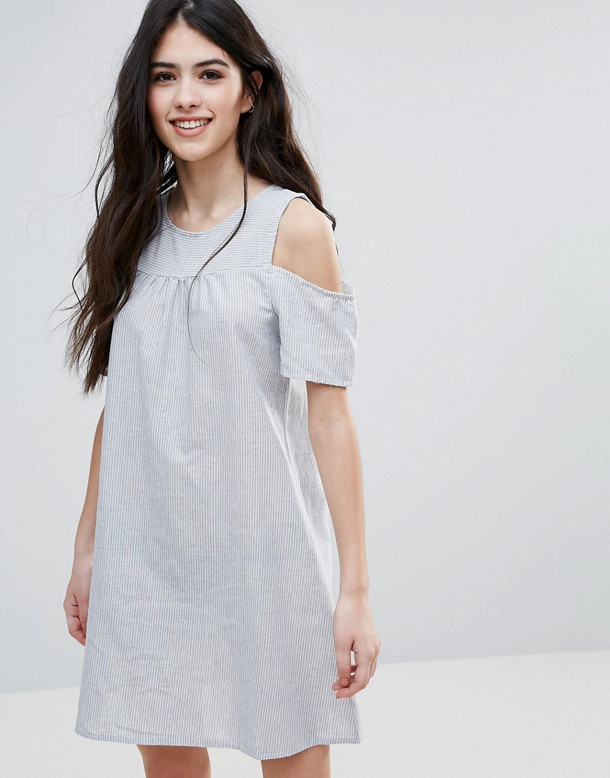 Brave Soul Cold Shoulder Smock Dress - Multi