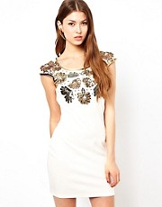 Lipsy Sequin Flower Embellished Dress