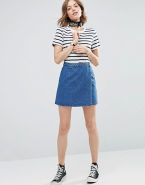 ASOS Denim Wrap A Line Skirt in Mid Wash Blue