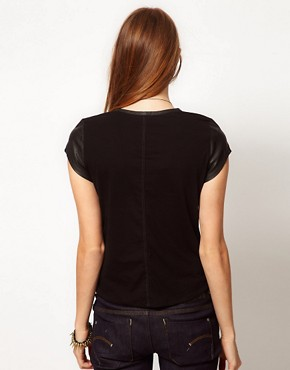 Image 2 ofG-Star Leather Look T-Shirt With Woven Back