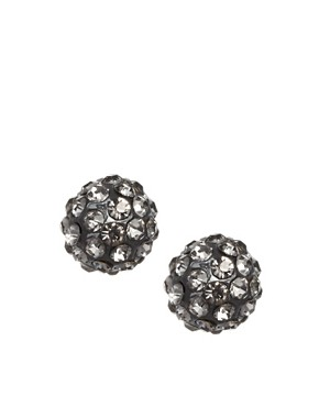 Image 1 ofASOS Pave Ball Tunnel Earrings
