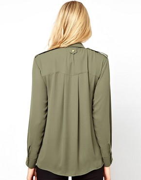 Image 2 ofASOS Maternity Utility Blouse With Gold Buttons