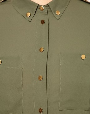 Image 3 ofASOS Maternity Utility Blouse With Gold Buttons