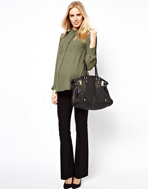 Image 4 ofASOS Maternity Utility Blouse With Gold Buttons