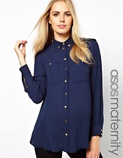 ASOS Maternity Utility Blouse With Gold Buttons