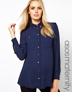 Image 1 ofASOS Maternity Utility Blouse With Gold Buttons