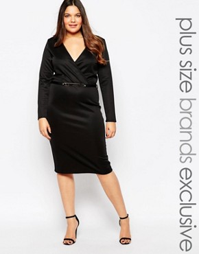 Club L Plus Plunge Wrap Front Midi Dress With Belt Detail