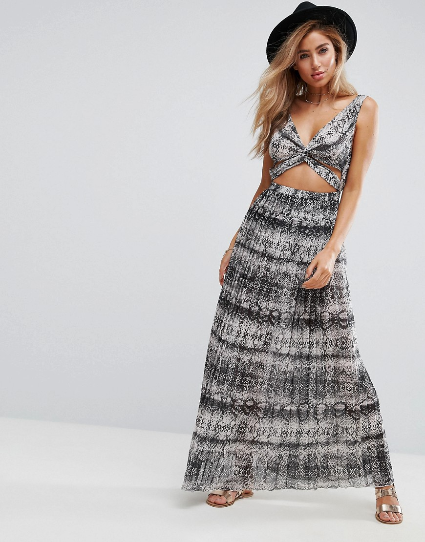 ASOS Beach Maxi Dress in Mono Snake With Pleat Skirt - Mono