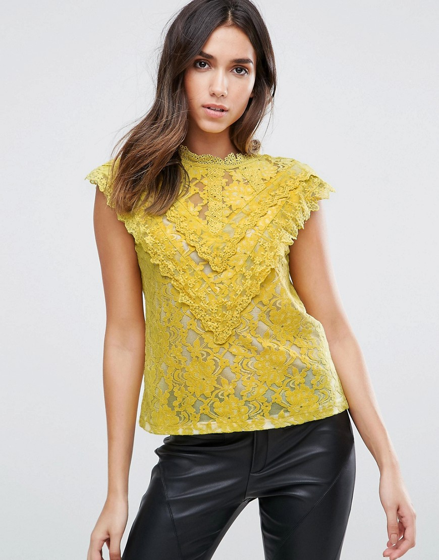 Amy Lynn Crochet Lace Top With Ruffle Detail - Yellow