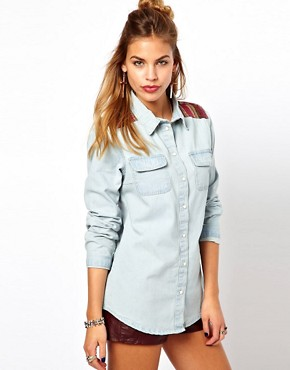 Image 1 ofGlamorous Denim Western Shirt with Woven Trim
