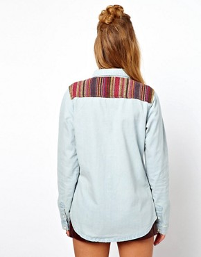 Image 2 ofGlamorous Denim Western Shirt with Woven Trim