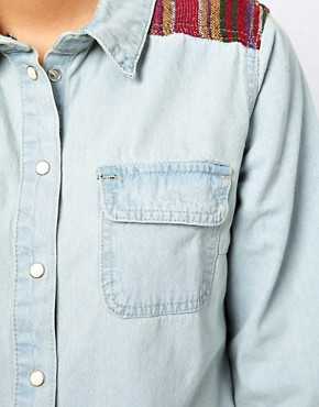 Image 3 ofGlamorous Denim Western Shirt with Woven Trim