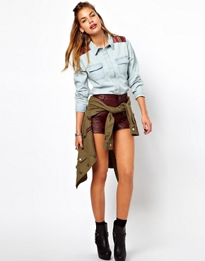 Image 4 ofGlamorous Denim Western Shirt with Woven Trim