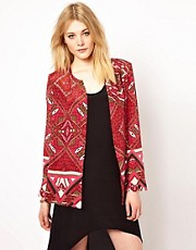 S.Y.L.K Printed Silk Relaxed Jacket