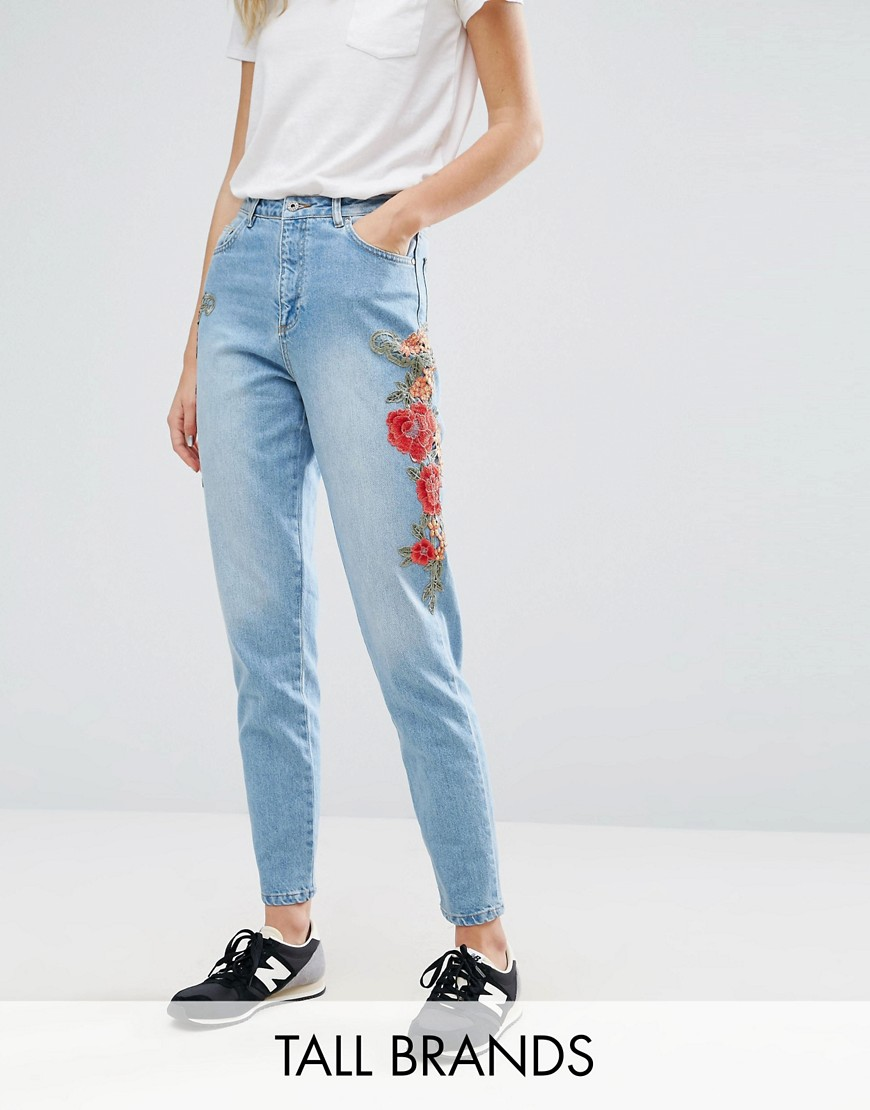 Kubban Tall Floral Embroidered Side Mom Jeans - Mid blue