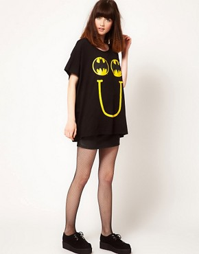 Image 4 ofLazy Oaf x Batman Exclusive Oversized T-Shirt In Happy Bat Print