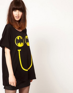 Image 1 ofLazy Oaf x Batman Exclusive Oversized T-Shirt In Happy Bat Print