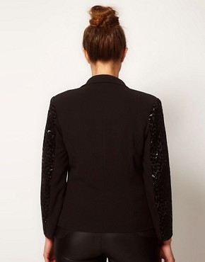 Image 2 of ASOS CURVE Exclusive Blazer With Sequin Sleeve