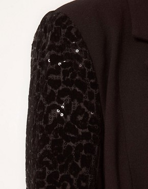 Image 3 of ASOS CURVE Exclusive Blazer With Sequin Sleeve