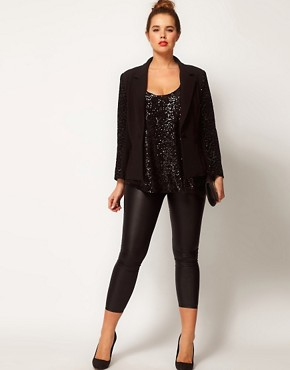 Image 4 ofASOS CURVE Exclusive Blazer With Sequin Sleeve