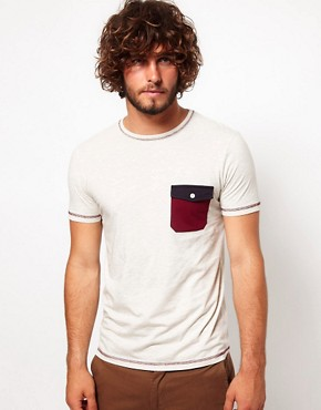 Image 1 ofASOS T-Shirt With Contrast Pocket And Stitching