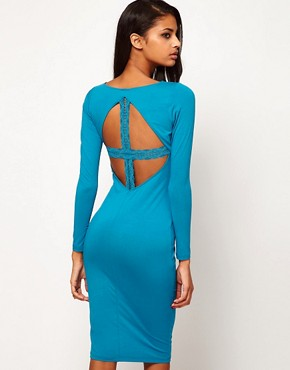 Image 1 ofASOS Midi Dress With Lace Cross Back