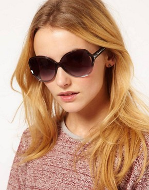 Image 3 ofM By Missoni Large Lens Sunglasses With Stripe Arm