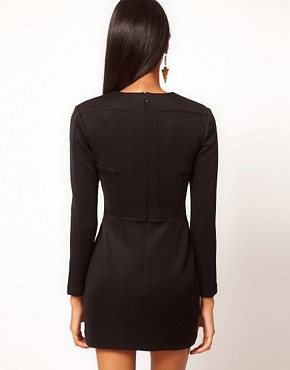 Image 2 ofAqua Cross Long Sleeve Panelled Dress