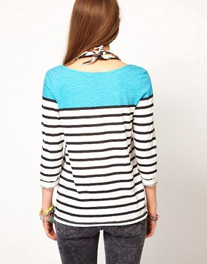Image 2 ofMaison Scotch Breton Tee with Ikat Scarf