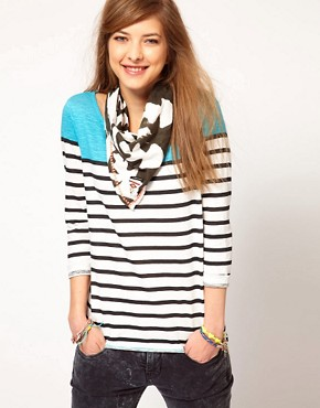 Image 1 ofMaison Scotch Breton Tee with Ikat Scarf