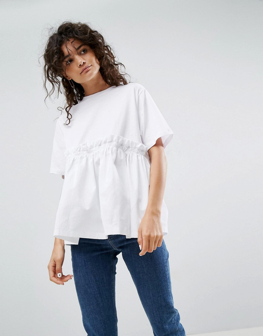 ASOS WHITE Balloon Hem T-Shirt With Pockets - White