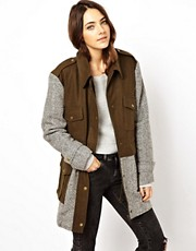 ASOS Wool and Tweed Mix Parka Jacket