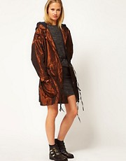White Tent Taffeta Parka In Bronze