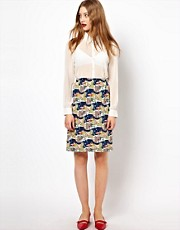 Peter Jensen Slip Skirt in Scenic Print Silk