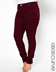 ASOS CURVE - Jeans skinny morbissimi bordeaux