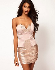 ASOS Strapless Peplum Dress in Sequin