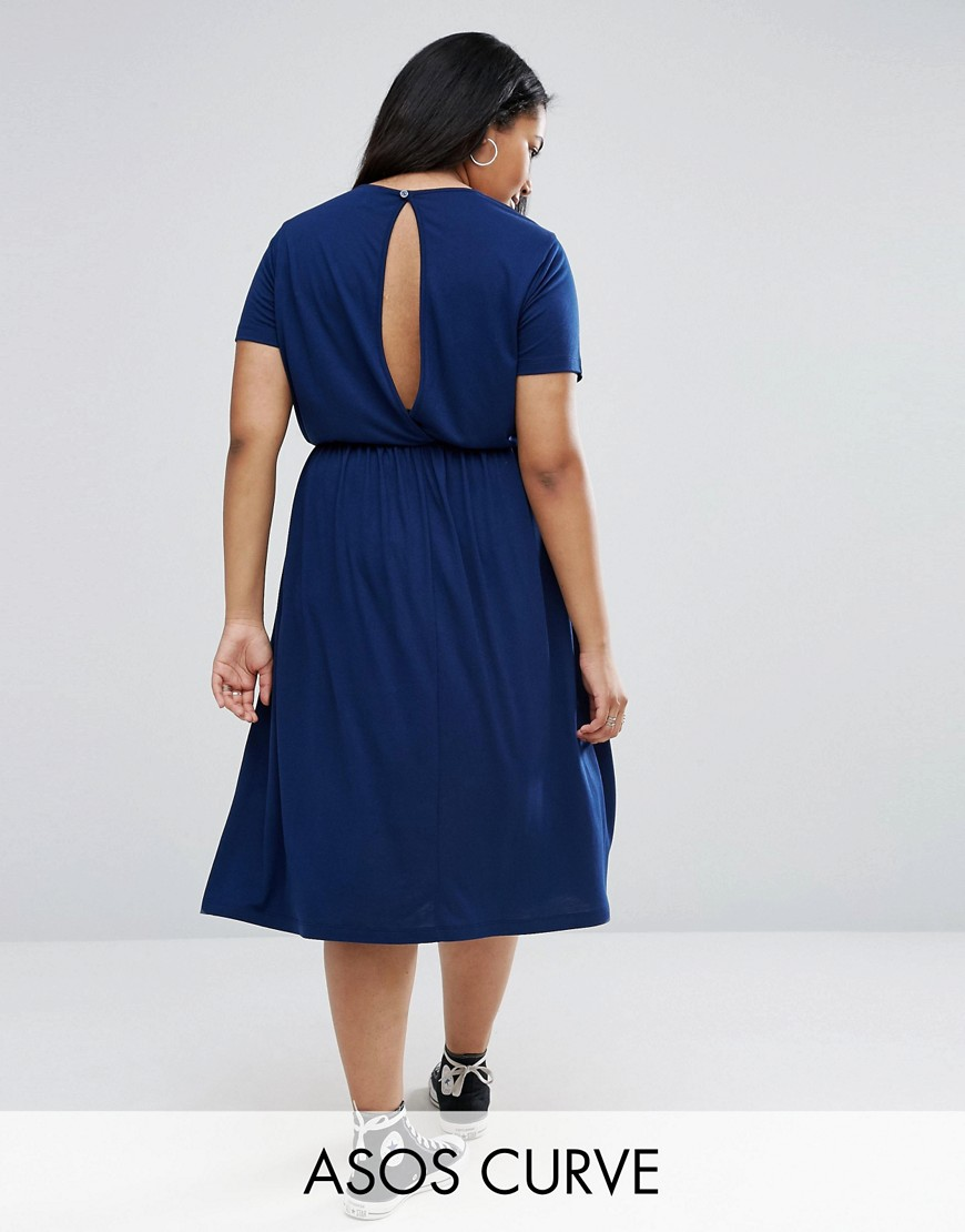 ASOS CURVE Midi Smock Dress With Cut Out Back - Navy