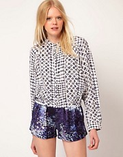 Edun Jacket Cropped In Silk All Over Yoruba Print