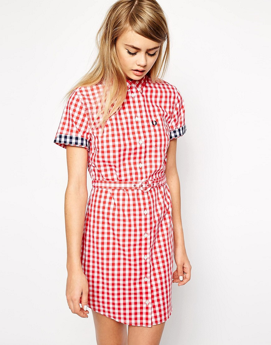 Image 1 of Fred Perry Gingham Shirt Dress