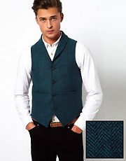 ASOS Slim Fit Vest in Herringbone