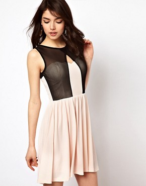 Image 1 ofPaprika Mesh Overlay Skater Dress
