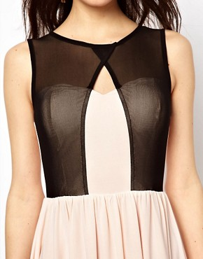 Image 3 ofPaprika Mesh Overlay Skater Dress