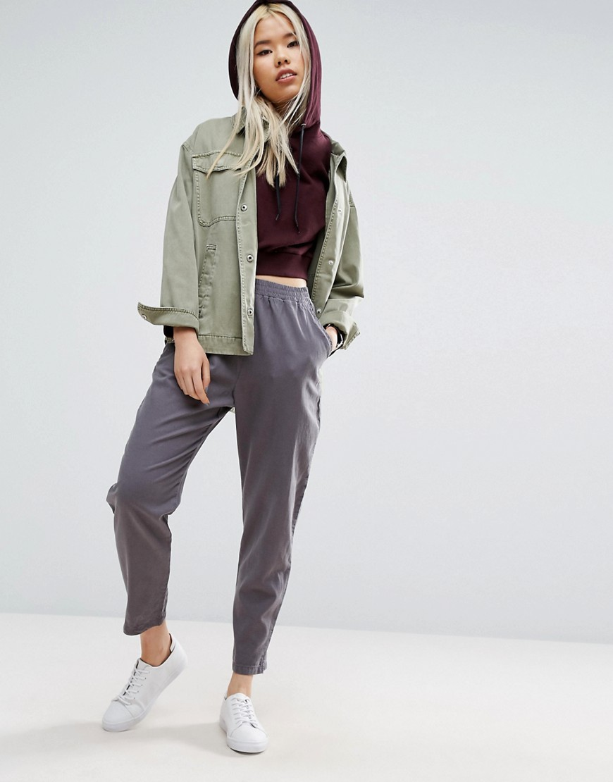 ASOS Washed Tapered Peg Trousers - Grey