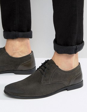 ASOS Lace Up Shoes In Grey Suede With Toecap