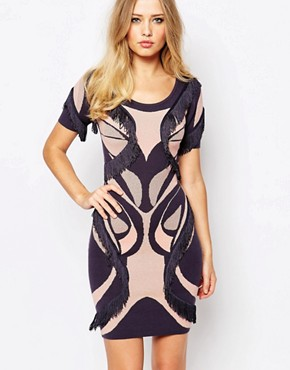 Supertrash Dagny Printed Bodycon Dress With Fringing